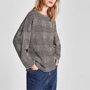 Zara Sweater Black Gray Check Glen Plaid